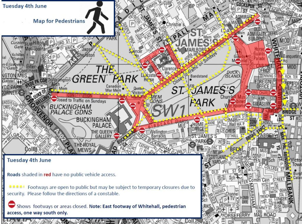 Road Map Central London.Policing In Central London For Visit Of President Trump London Post